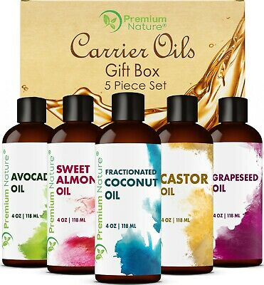 Carrier Oils 5 pk Variety Set 4Oz ea Best Oils for Body Massage Dry Skin