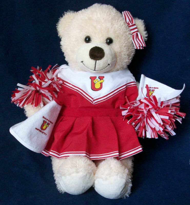 "Build A Bear Stuffed Plush Animal Bear 16"" With Red White Cheerleader Outfit"