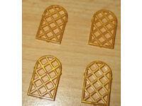 4x Bogen Fenster Gitter Lego Ritter in Perl Gold 30046