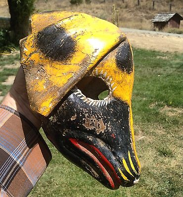 vintage mexican leather folded leather dog dance mask from guerrero