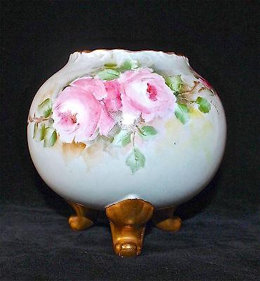 Antique Limoges France Footed Globular Vase Hand Painted Roses Signed Marked Exc