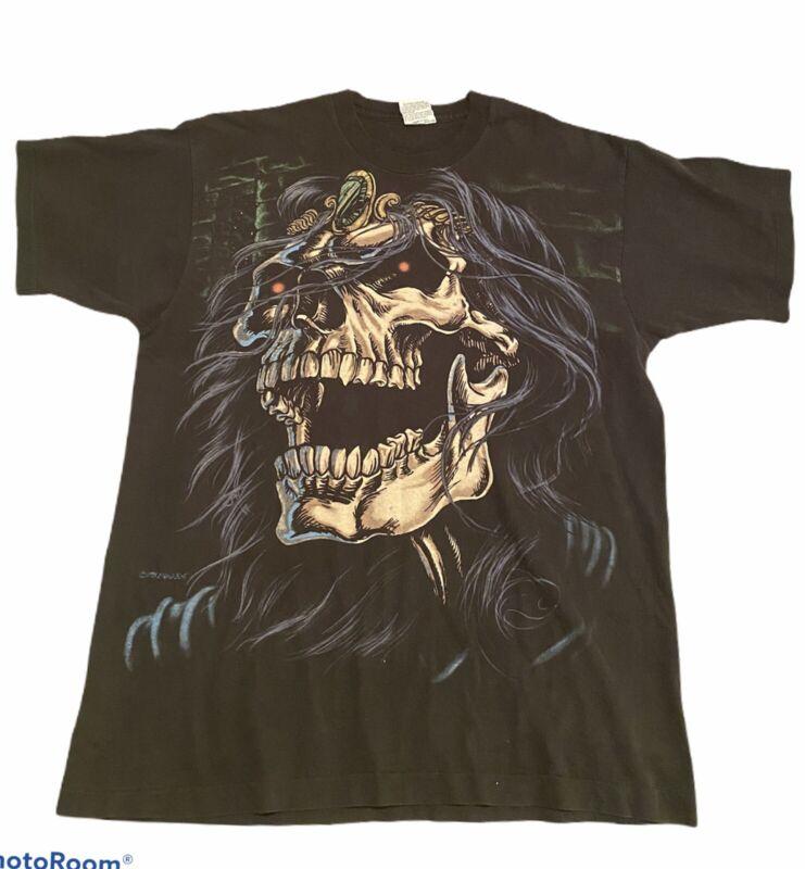 Vintage 90s All Over Print Female Skull Liquid BLUE Single Stitch Shirt Fantasy
