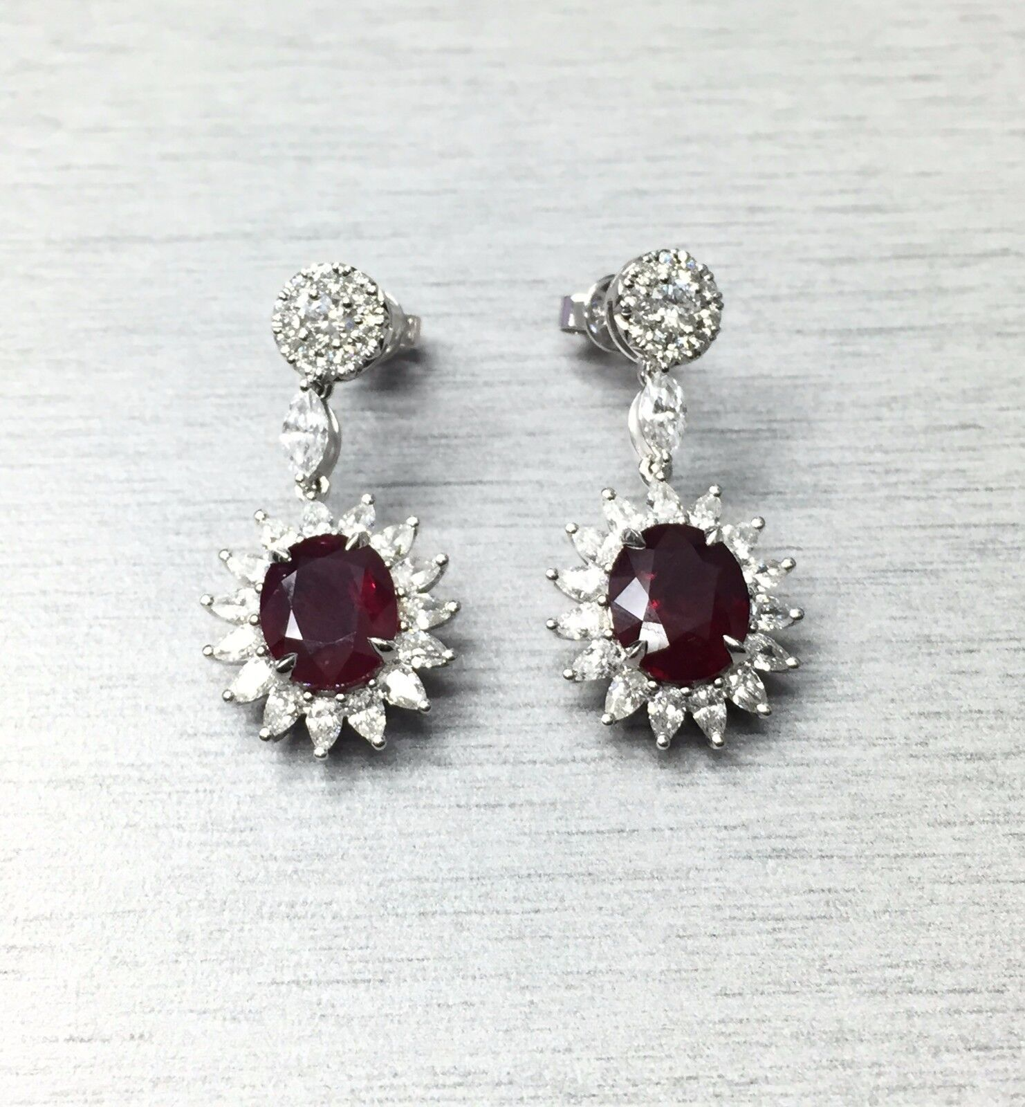 Natural GIA Certified 18K Gold Ruby Earrings with Diamonds 6.72 Carats Rubies 3