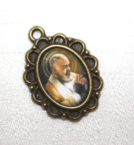 St. Padre Pio Rosary Mini-Medal/ Choice of Antique Silver/Antique Gold or Bronze
