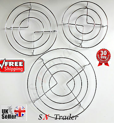 3X Chrome Hot Plate Pan Pot Stand Kitchen Worktop Protector Round Trivet Coaster