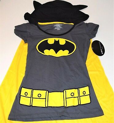 New Batman shirt with hood cape junior sizes XS (1)  costume shirt