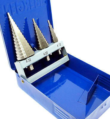 3pc  HSS Step / Stepped / Cone Drill  Set  4mm-32mm  US Pro / Bergen 2519 / 2604