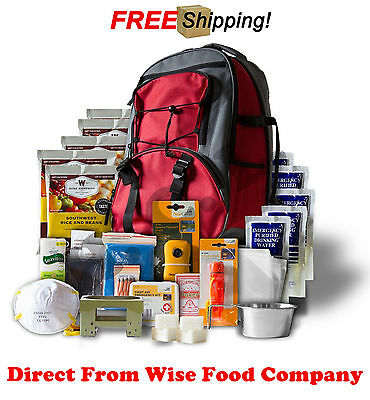 Wise Company 5 Day Survival Back Pack Bug out Bag Emergency Food Digital RED