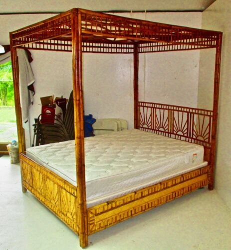 Vintage BAMBOO CANOPY BED- All Original Condition- Mid Century