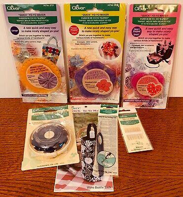 Clover Yo-Yo Maker Gift Set Templates, Stuffing Tool, Domed Threaded Needle Case (Maker Gift Set)