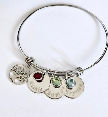 Custom Name/birthstone Family tree charm Stainless Steel bangle mom/grandma gift