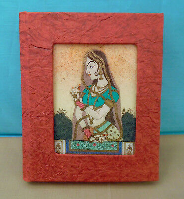 Address Book w/ Beautiful Hindu Crushed Gemstone Painting of a Woman