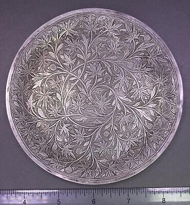 Antique ORNATELY HAND ENGRAVED Japanese .950 Sterling+ Silver Floral Saucer Dish