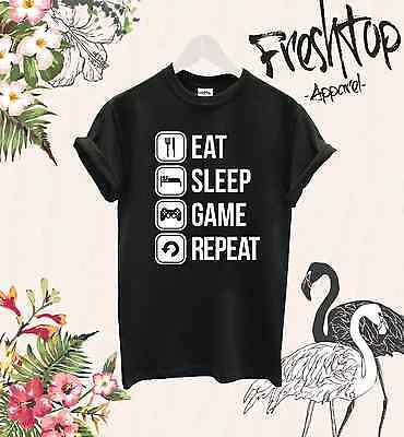 Eat Sleep Game Repeat T Shirt Twitch Youtube Gamer Play Cs Go Mmo Rpg Gameboy
