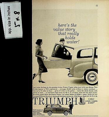 1958 Triumph Car Valve Story Holds Water Vintage Print Ad 7632