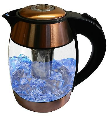 Copper 1.8-liter Electric Cordless Tempered Glass Tea Kettle with Infuser