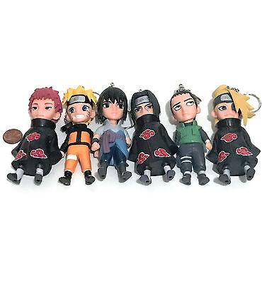 """4"""" Naruto Shikamaru Sasuke Itachi Sasori Deidara Figurine Keychain USA Ninja"""