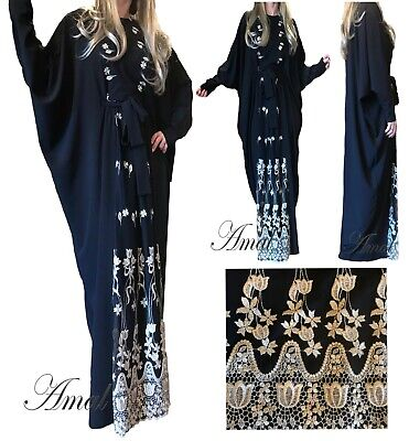 ❤️AMAL Muslim Women Kaftan Abaya, Islamic Long Sleeve Long Maxi Dress New USA