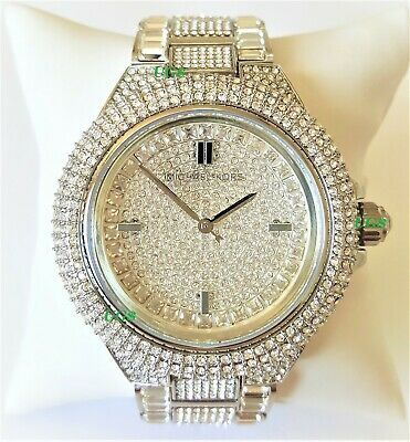 Michael Kors Watch Womens Chrystals Dial Silver Band MK5869 Genuine VIP