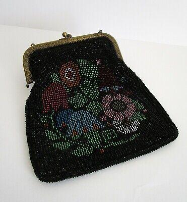 Perlen Bestickte Abendtasche (Alte Abendtasche / Perlentasche mit Perlen bestickt um 1900)