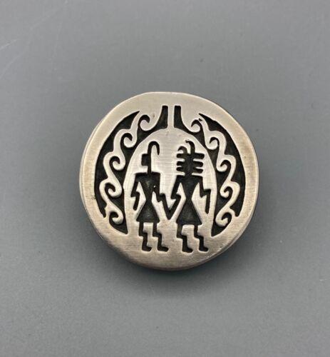Vintage Native American Hopi Sterling Silver Pin Brooch, Two Figures Nice Design