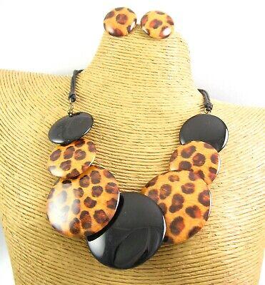 Animal Print Wood Black Beads Fabric Fashion Necklace Earring Matching Jewelry ()