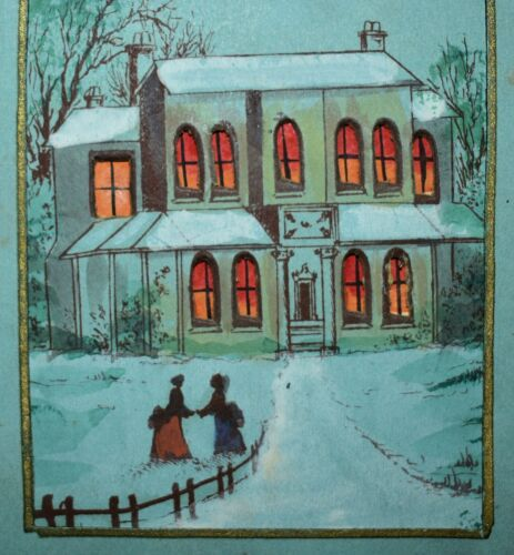 Q6. DATED 1873 VICTORIAN CHRISTMAS PRESENT HOLD TO LIGHT CARD - WINDOWS