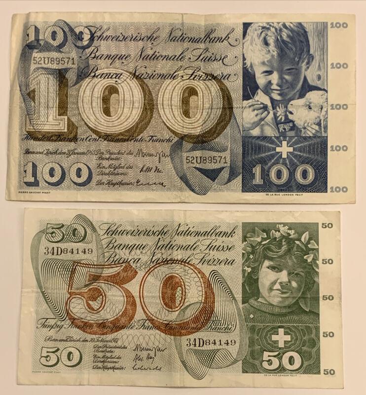 1965 100 Francs & 1971 50 Francs Switzerland RARE Banknotes