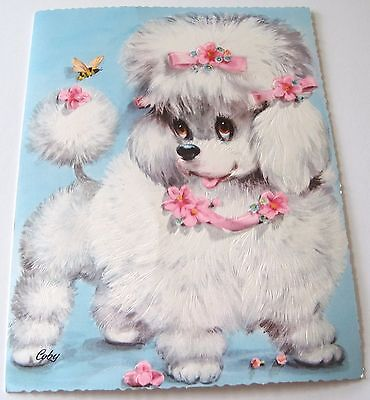 Used Large Vintage Greeting Card by Coby White Poodle w Pink Bows w Bee