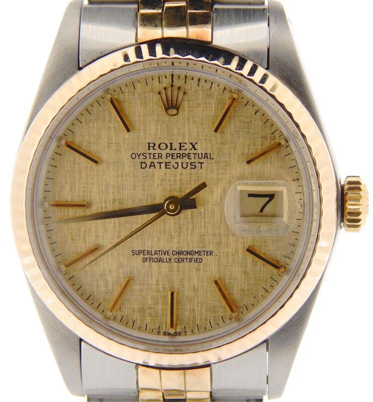 Rolex Datejust Mens 2tone 18k Gold & Stainless Steel Jubilee W/ Linen Dial 16013