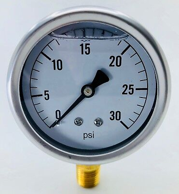 New In Box Hydraulic Liquid Filled Pressure Gauge 0-30 Psi
