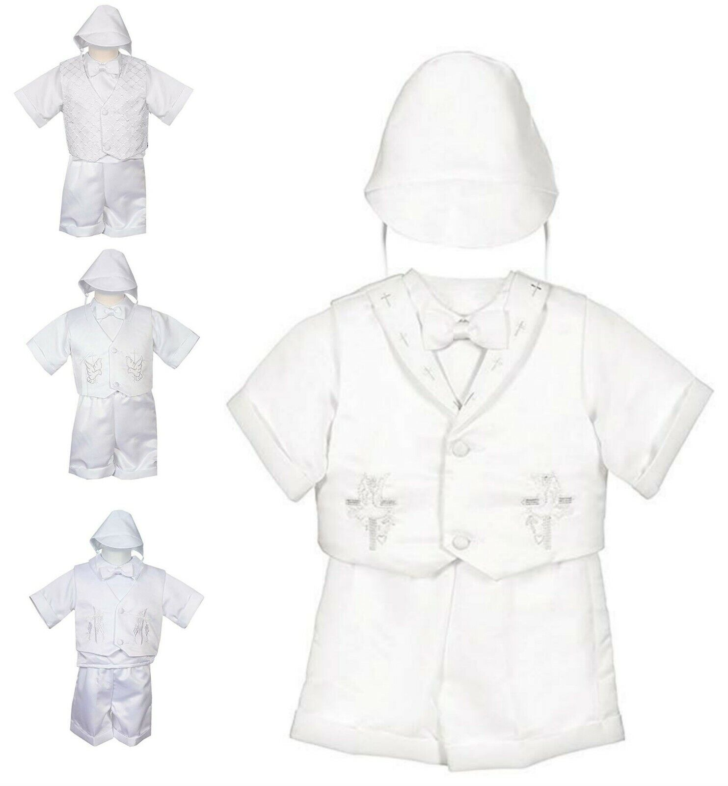 Baptism Christening Outfit Boys Infant Baby Toddler White Bo