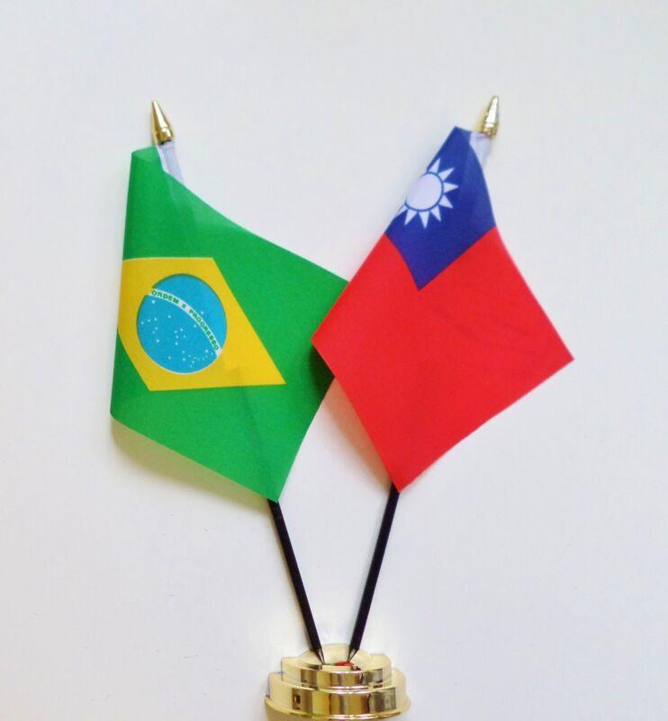 Brazil & Republic of China (Taiwan) Double Friendship Table Flag Set