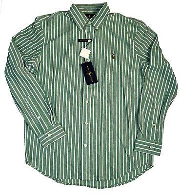 Ralph Lauren Mens Striped Button Up Knit Mesh Oxford Style Shirt, Green/White, M Mesh-oxford