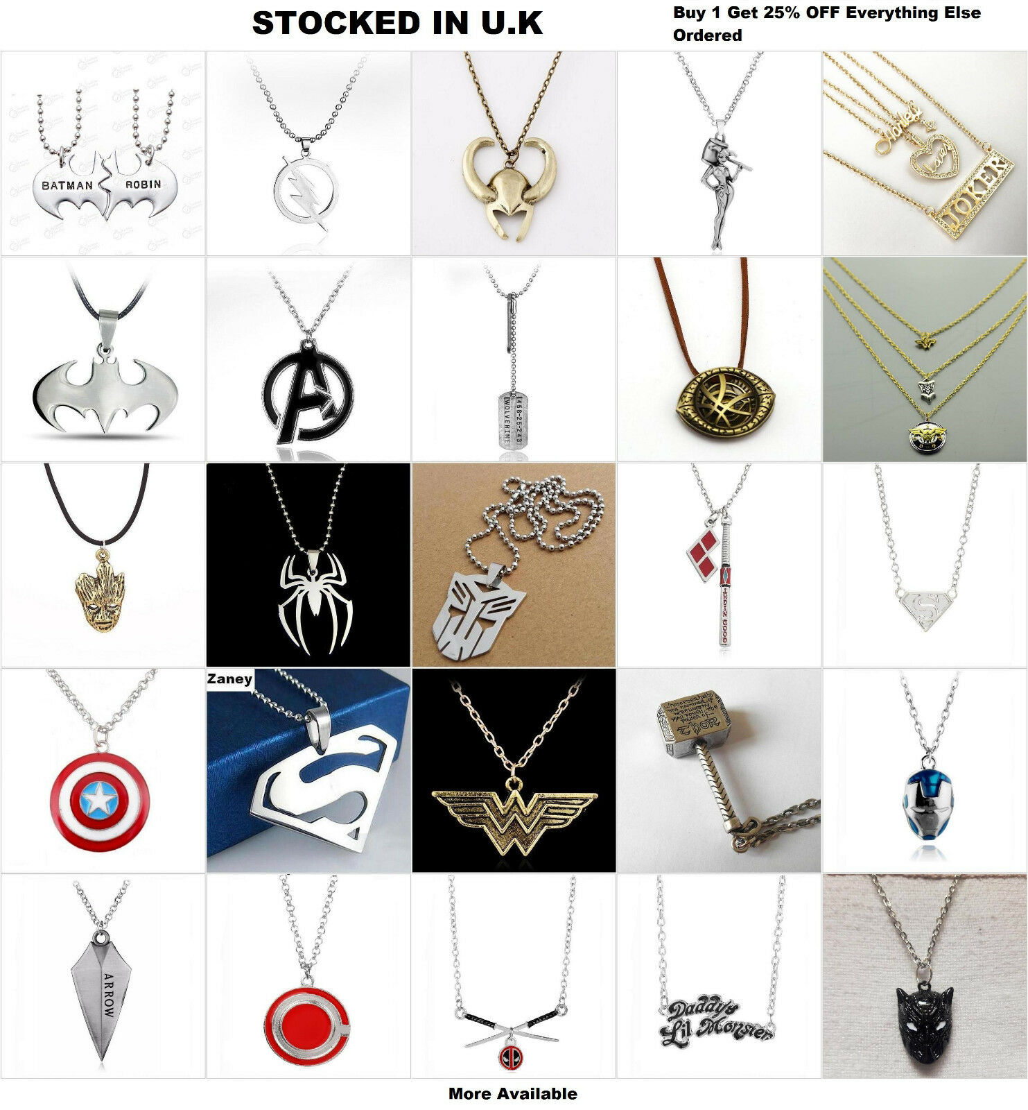 Jewellery - Superhero Jewellery Comic Book Superman Wonder Women Groot Necklace Earrings