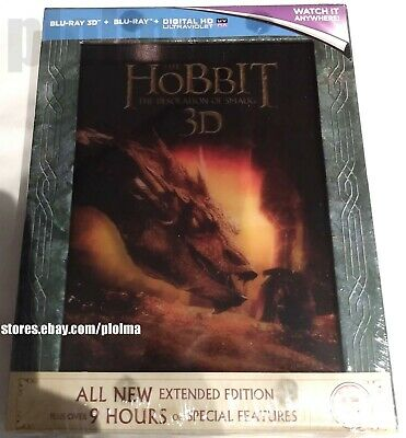 The Hobbit Desolation of Smaug 3D EXTENDED EDITION New Blu-Ray Lenticular