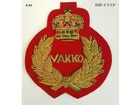 Zari embroidery emblem patch applique handmade badge in velvet for coat bag hat.