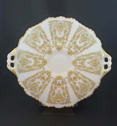 Cambridge Glass Crown Tuscan Platter Etched Diane Gold Encrusted