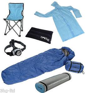 Camping Set Festival Complete Kit Sleeping Bag Chair Mat Torch Raincoat Pillow