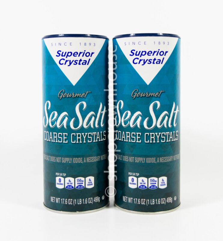 2 Superior Crystal Gourmet SEA SALT Coarse Crystals Shaker 17.6oz each 06/2024