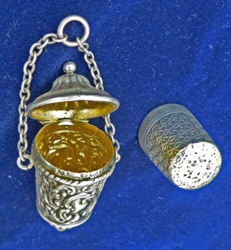 ORNATE Victorian SILVER Thimble Holder Gilt Case for Chatelaine 1900 +Thimble HM