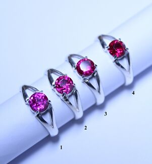 4 European Lab Created Ruby's in Sterling Silver (925) Rings