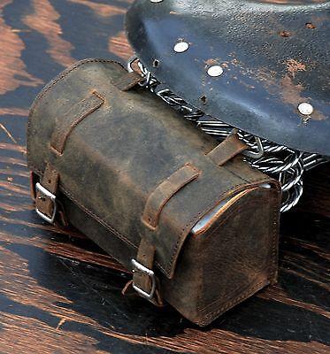 Vintage Brown Leather Bike TOOL BOX BAG Schwinn Cruiser Bicycle Saddle Road Seat