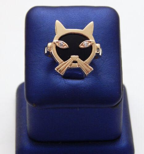 14K Yellow Gold Onyx & Diamond Cat Ring - Custom Made - Size 8.75