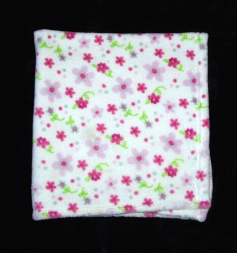 """Little Beginnings Pink Flowers Floral Baby Blanket White Soft Security 29x31"""""""