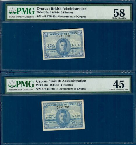 Cyprus both issued years for 3 piastres , P28a, graded PMG XF *45* & AU *58*!