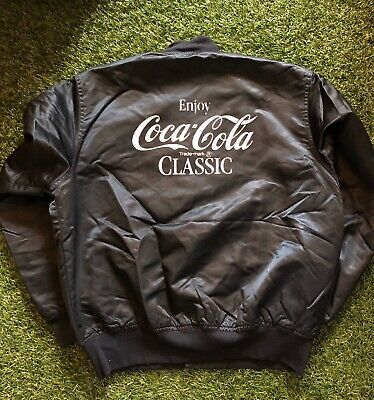 Vintage 80s Coke Coca Cola Satin Jacket Employee Men's XL Black
