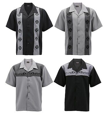 Men's Casual Two Tone Biker Cross Charlie Sheen Guayabera Bowling Dress Shirt