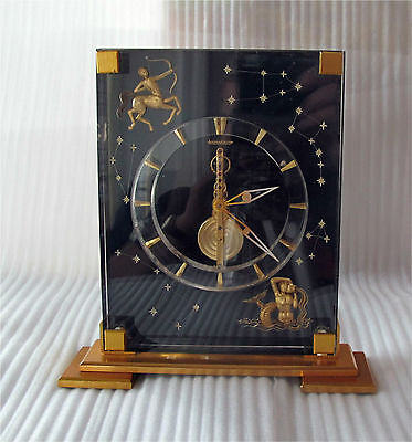 Jaeger le Coultre Black Lucite Skeleton Desk Clock Astro / Marina 8 Day Working