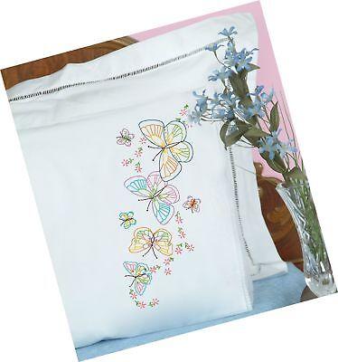 Jack Dempsey Pillowcase Lace - Jack Dempsey Needle Art 1800143 Lace Edge Pillowcase, Fluttering Butterflies ...